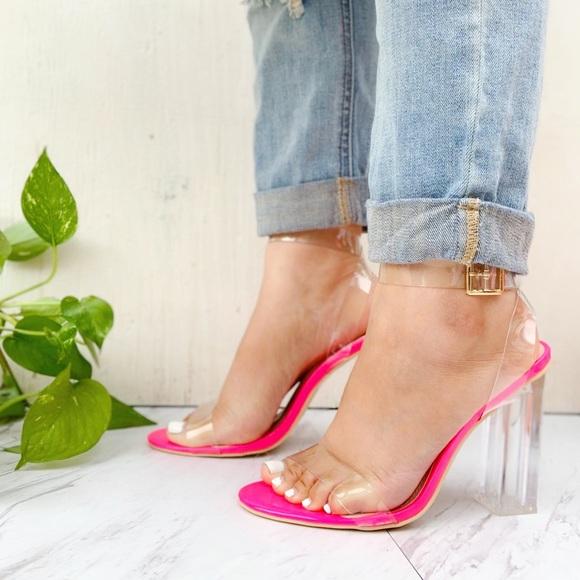 Hot Pink Transparent Block Heels | Poshmark